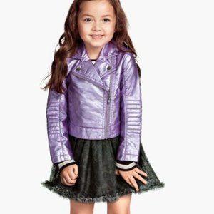 H&M Shiny Purple Pleather Moto Jacket